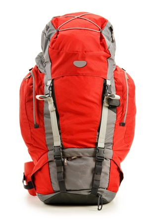 rucksack ': Large red touristic backpack isolated on white