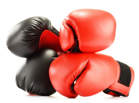 boxing equipment: Leather boxing gloves isolated on white