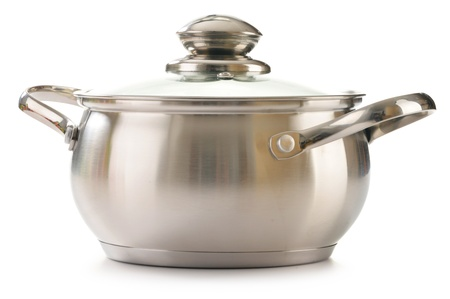 Stainless pan isolated on a white background photo