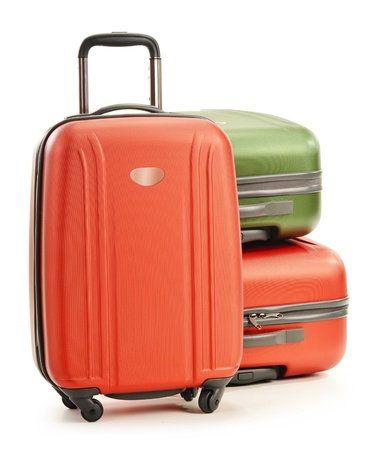Luggage consisting of three polycarbonate suitcases isolated on white Stock Photo - 18755440