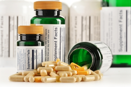 prophylactic: Composition with dietary supplement capsules. Drug pills