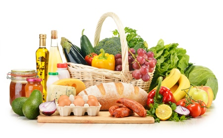 fresh meat: Assorted grocery products including vegetables fruits wine bread dairy and meat isolated on white