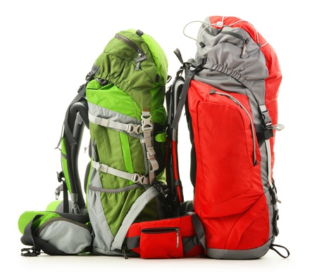 Two large touristic backpacks isolated on white Stock Photo
