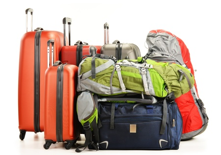 rucksacks: Luggage consisting of large suitcases rucksacks and travel bag isolated on white