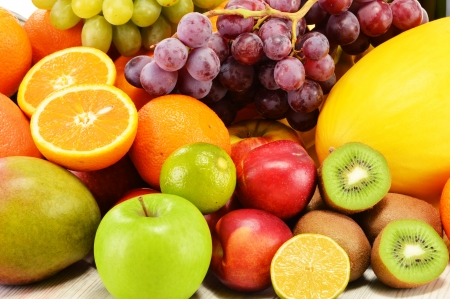 balanced diet: Composition with variety of fruits