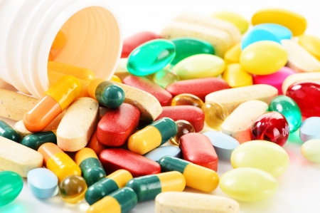 pain killers: Composition with variety of drug pills and dietary supplements