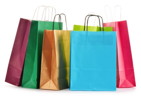 shopping bag: Paper shopping bags isolated on white background Stock Photo