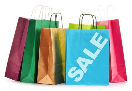 bargain: Paper shopping bags isolated on white background Stock Photo
