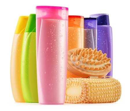 Composition with plastic bottles of body care and beauty products Stock Photo - 19868125