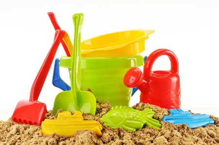 sandpit: Plastic children toys for playing in sandpit or on a beach Stock Photo