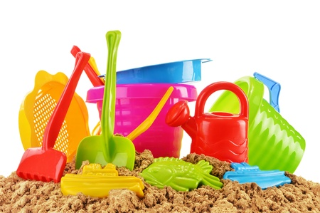 sand mold: Plastic children toys for playing in sandpit or on a beach Stock Photo