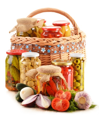 preserving: Composition with jars of pickled vegetables. Marinated food