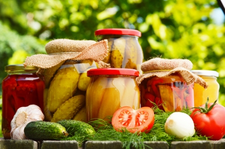 Jars of pickled vegetables in the garden. Marinated food photo
