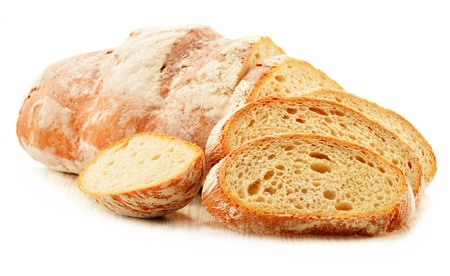 baking bread: Composition with loafs of bread isolated on white background Stock Photo