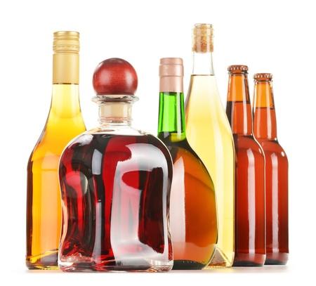 whisky bottle: Assorted alcoholic beverages isolated on white background