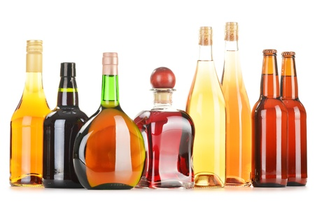 bourbon: Assorted alcoholic beverages isolated on white background