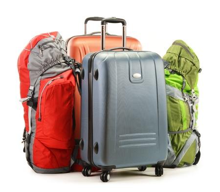 haversack: Luggage consisting of large suitcases and rucksacks isolated on white Stock Photo