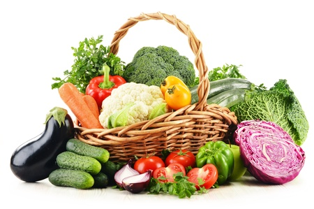 Composition with variety of fresh organic vegetables isolated on white Stock Photo