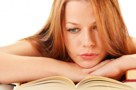 Young woman reading a book  Female student learning Stock Photo - 21611220