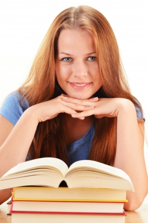 Young woman reading a book  Female student learning photo