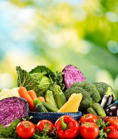 Samenstelling met verscheidenheid van verse rauwe biologische groenten
