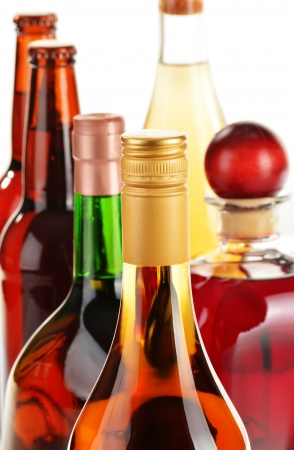 Assorted alcoholic beverages isolated on white background Stock Photo - 22498412