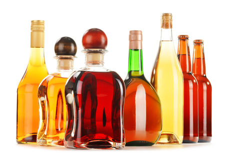 excise: Assorted alcoholic beverages isolated on white background