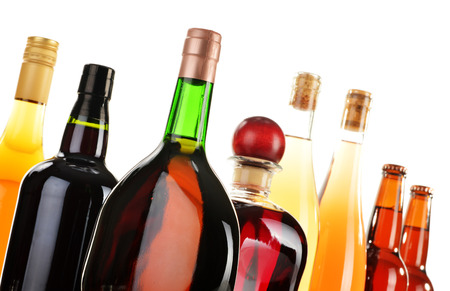 distilled alcohol: Assorted alcoholic beverages isolated on white background
