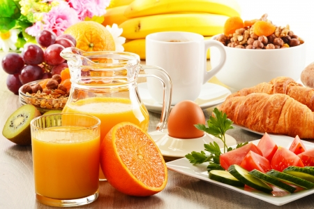 balanced diet: Breakfast with coffee, orange juice, croissant, egg, vegetables and fruits