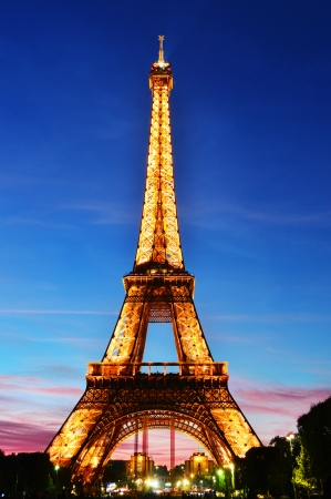 The Eiffel Tower in Paris, France in the night