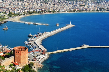 View of Alanya harbor form Alanya peninsula. Turkish Riviera photo