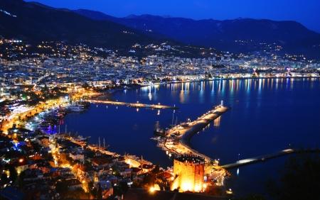 turkey beach: View of Alanya harbor form Alanya peninsula. Turkish Riviera by night Stock Photo