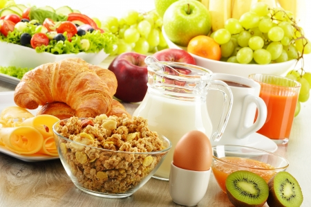digesting: Breakfast with coffee, juice, croissant, salad, muesli and egg  Swedish buffet