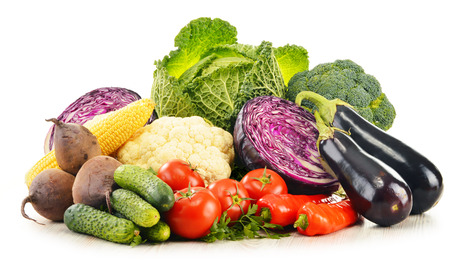 Composition with variety of fresh raw organic vegetables photo