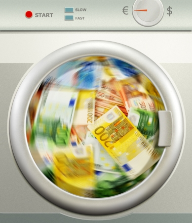 tax evasion: Money laundering  Euro European currency Stock Photo