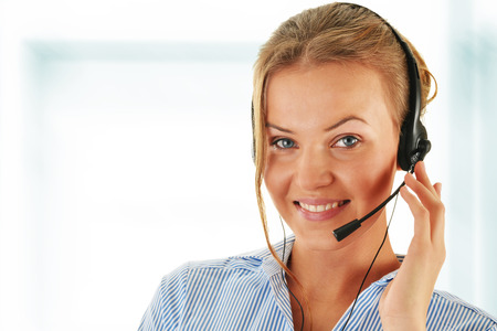 helpdesk: Call center operator. Customer support. Helpdesk.  Stock Photo