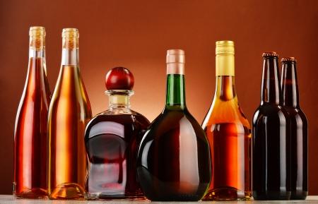 distilled alcohol: Bottles of assorted alcoholic beverages