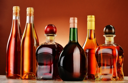 excise: Bottles of assorted alcoholic beverages