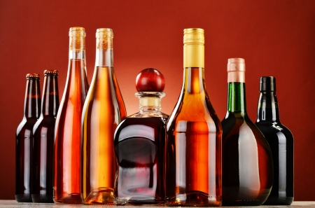 Bottles of assorted alcoholic beverages photo
