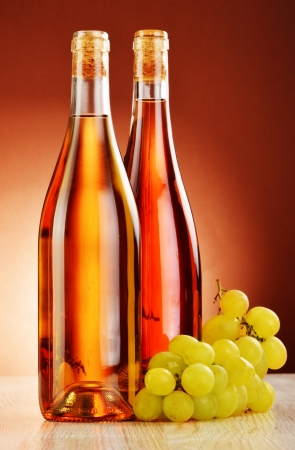 stimulant: Two bottles of wine on the table