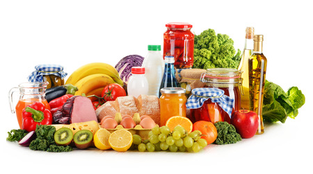 식료품 제품의 다양한 구성 흰색으로 격리 스톡 콘텐츠