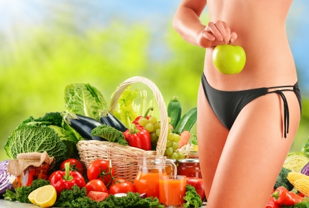 Dieting  Balanced diet based on raw organic vegetables photo