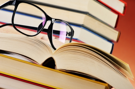 prose: Composition with glasses and books on the table