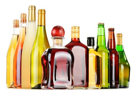 light duty: Bottles of assorted alcoholic beverages isolated on white background