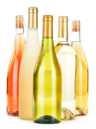 stimulant: Composition with variety of wine bottles isolated on white