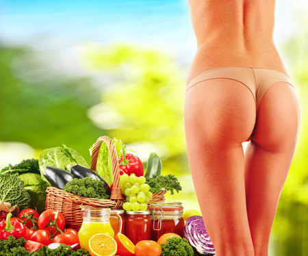 balanced diet: Woman Balanced diet body with raw organic vegetables