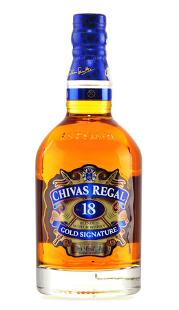 regal: Blended from whiskies matured for at least 18 years Chivas Regal 18 Gold Signature is a blended Scotch whisky produced by Chivas Brothers in Keith, Scotland