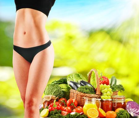 Dieting. Balanced diet based on raw organic vegetables photo