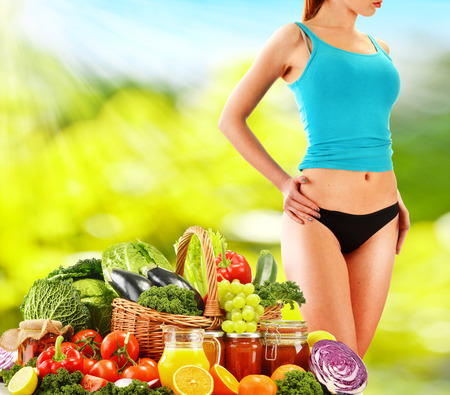 Dieting. Balanced diet based on raw organic vegetables photo