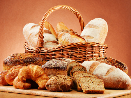 Wicker basket with variety of baking products photo